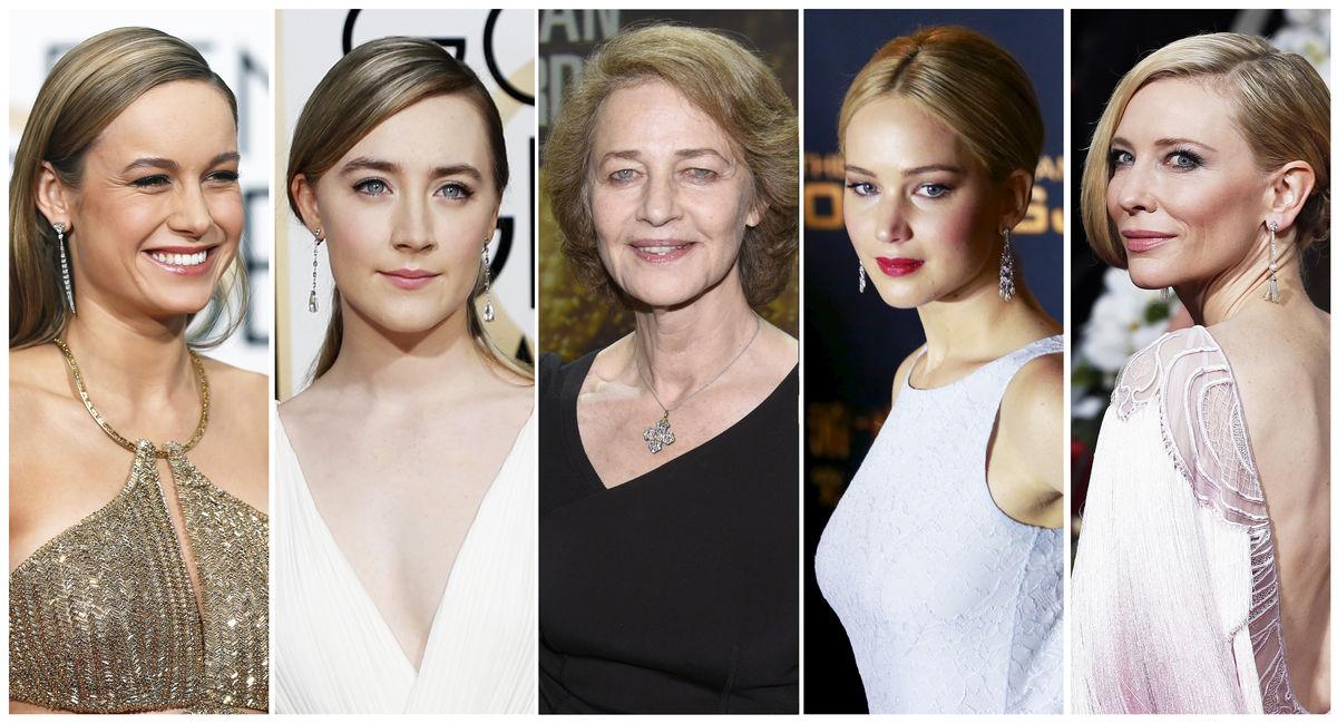 As nomeadas para o Óscar de Melhor Atriz: (da esq. para a dir.) Brie Larson, Saoirse Ronan, Charlotte Rampling, Jennifer Lawrence, Cate Blanchett (Foto: REUTERS)