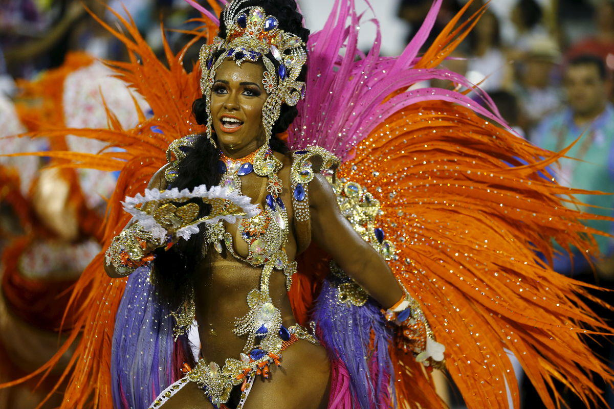 Beija-Flor samba school's Drum Queen Rayssa Oliveira performs during the carnival parade at the Sambadrome in Rio de Janeiro