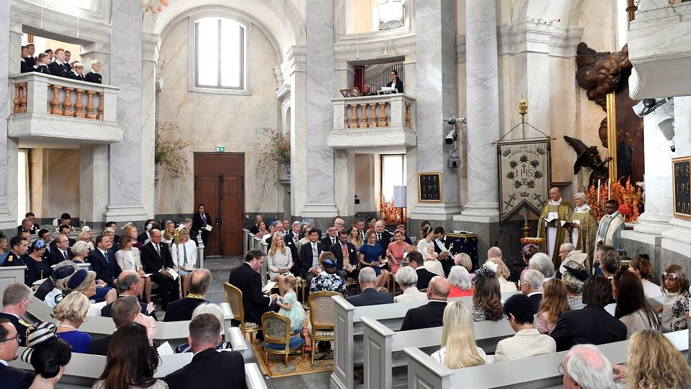 The Palace Chapel in Drottningholm Palace during the christening of the five month-old Prince Alexander in Stockholm