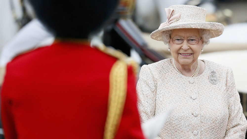 Britain's Queen Elizabeth returns Buckingham Palace after attending the Trooping the Colour ceremony at Horse Guards Parade in central London
