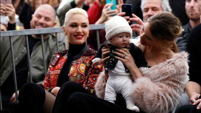 Model Prinsloo with her daughter Dusty Rose and singer Stefani attend the ceremony for the unveiling of the star for musician Adam Levine on the Hollywood Walk of Fame in the Hollywood neighborhood of Los Angeles