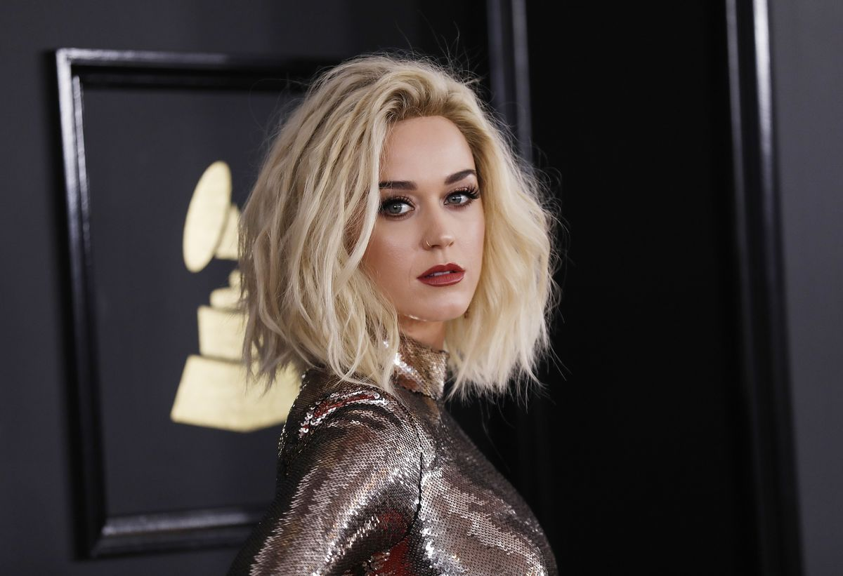 Singer Katy Perry arrives at the 59th Annual Grammy Awards in Los Angeles