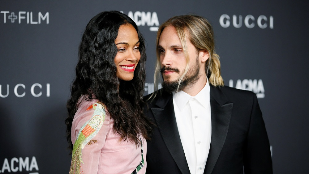 Actor Zoe Saldana and husband Marco Perego pose at the Los Angeles County Museum of Art (LACMA) Art+Film Gala in Los Angeles