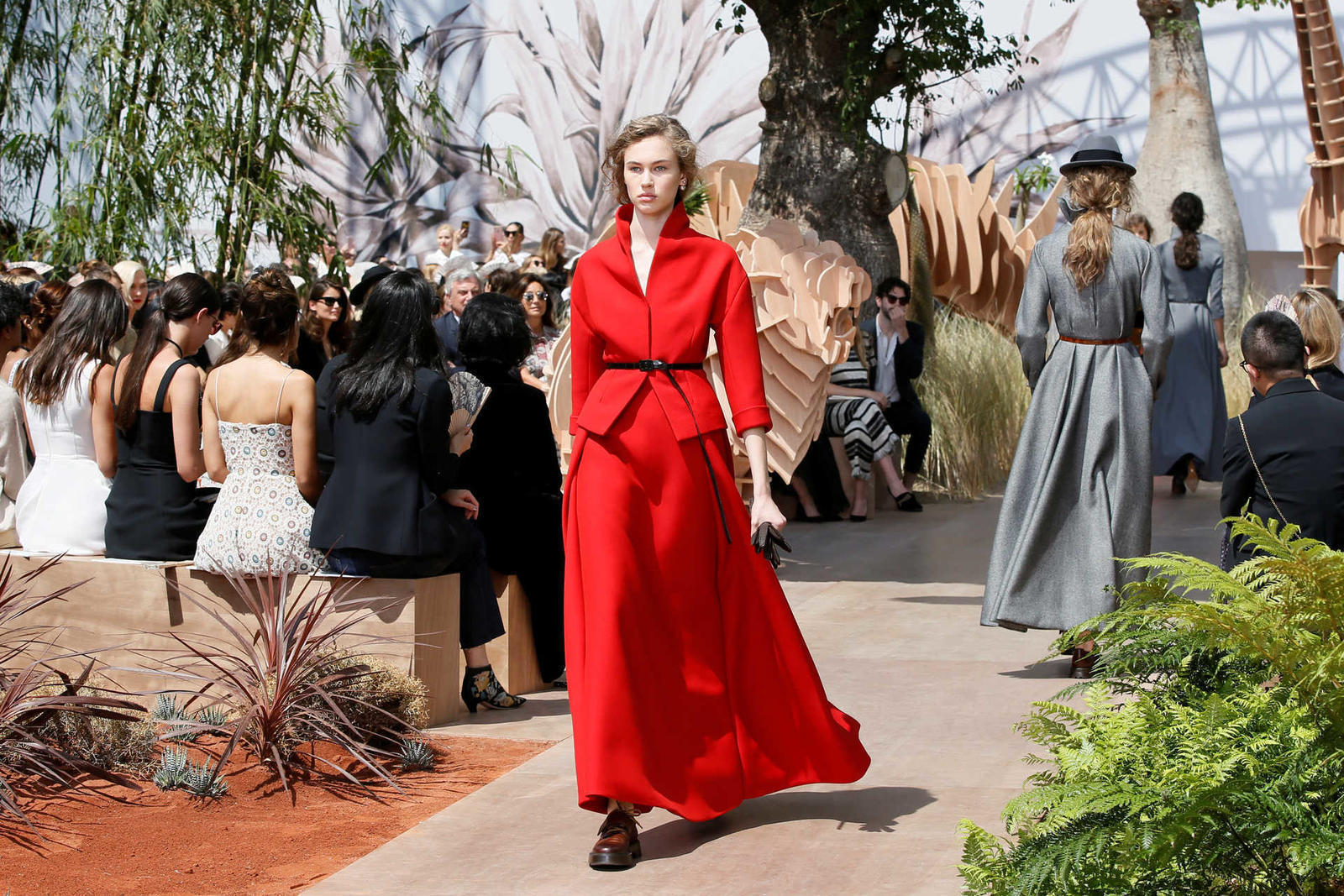 A model presents a creation by Italian designer Maria Grazia Chiuri as part of her Haute Couture Fall/Winter 2017/2018 collection for fashion house Dior in Paris
