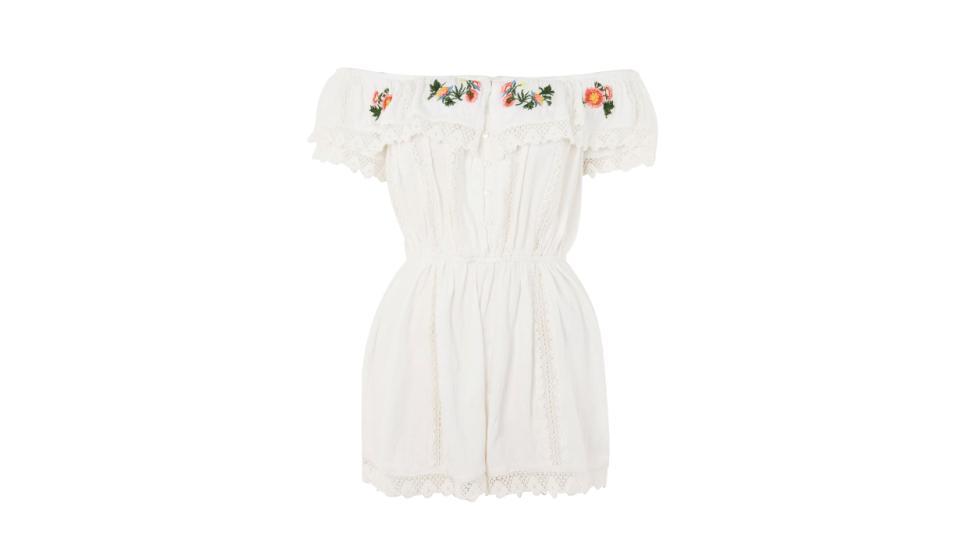 PETITE Embroidered Broderie Playsuit, Topshop, €46,80