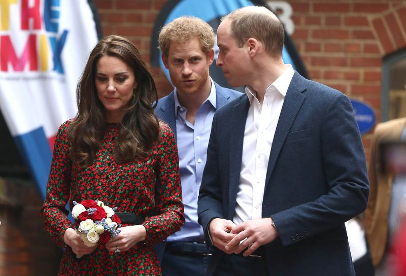 Britain's Catherine, Duchess of Cambridge Prince Harry and Prince William leave the Harrow Club in London