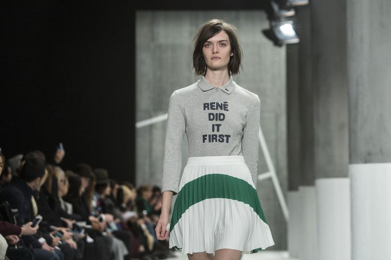 Model presents a creation at the Lacoste Fall/Winter 2015 collection during New York Fashion