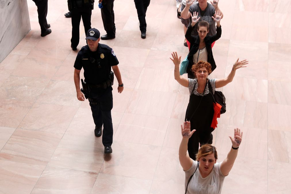 """Sarandon is arrested with demonstrators calling for """"an end to family detention"""" and in opposition to the immigration policies of the Trump administration, at the Hart Senate Office Building on Capitol Hill in Washington"""